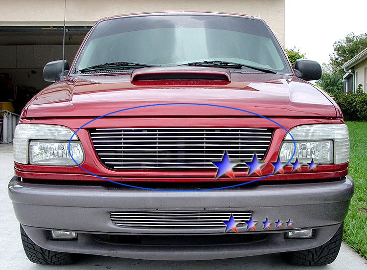 1997-1998 Ford Super Duty F-250 Light Polished Stainless Steel Billet Grille - Main Upper