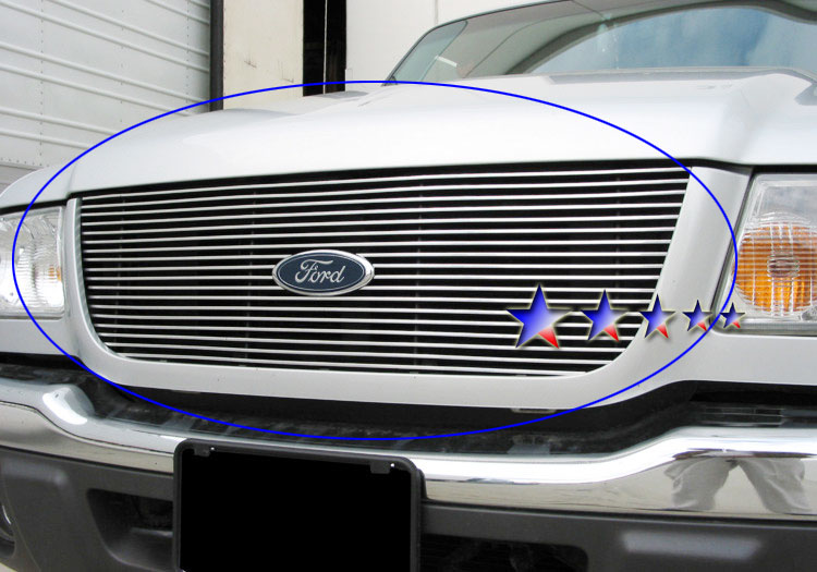 Ford Ranger Xlt 2wd 2001-2003 Polished Main Upper Stainless Steel Billet Grille