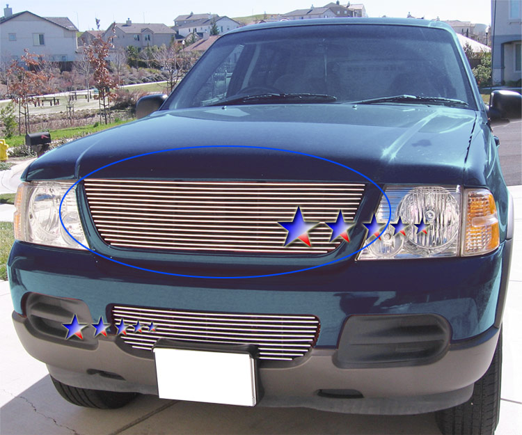 Ford Explorer  2002-2005 Polished Main Upper Stainless Steel Billet Grille