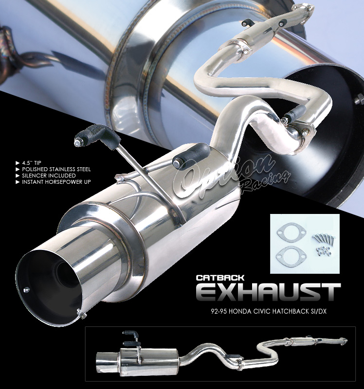 Honda Civic 1992-1995 Hb Si/Dx  Cat Back Exhaust System