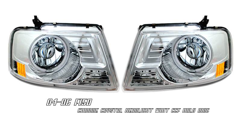 Ford F-150 04-06 Chrome Headlights W/ Halos