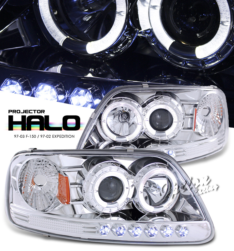 Ford Expedition 1997-2003  Chrome 1pc W/ Halo W/led Projector Headlights