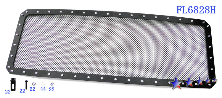 Ford Super Duty  2011-2012 Black Powder Coated Main Upper Rivet Grille