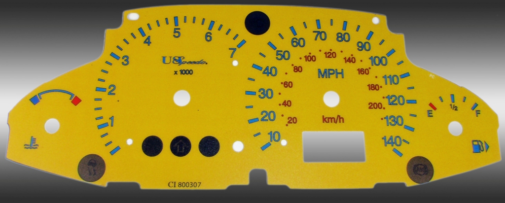 Ford Focus 2003-2005 With Tach Yellow / Green Night Performance Dash Gauges