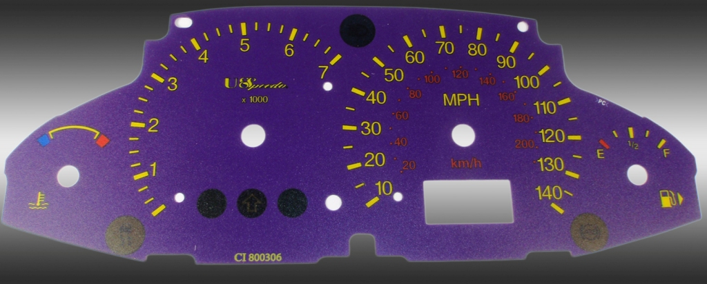 Ford Focus 2003-2005 With Tach Purple / Green Night Performance Dash Gauges