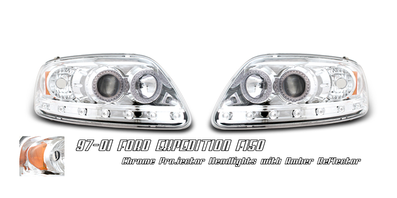 Ford Expedition 1997-2002  Chrome 1pc W/ Halo Projector Headlights