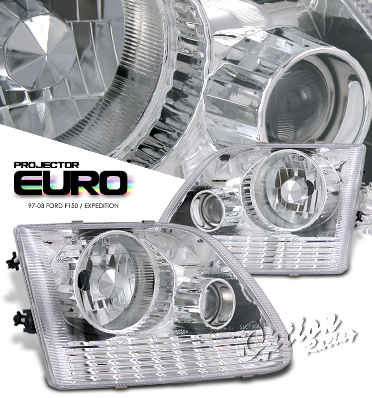 Ford Expedition 1997-2003  Chrome Euro Style Projector Headlights