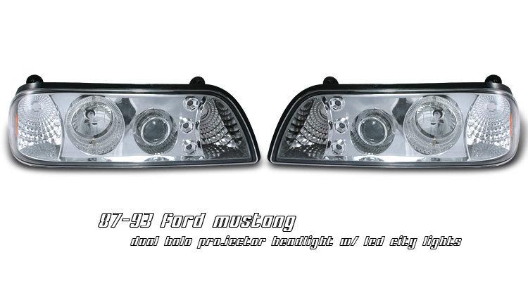 Ford Mustang 1987-1993 Projector Headlights w/ Halo