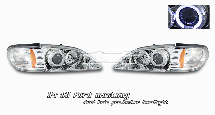 Ford Mustang 1994-1998  Chrome 1pc W/halo Projector Headlights