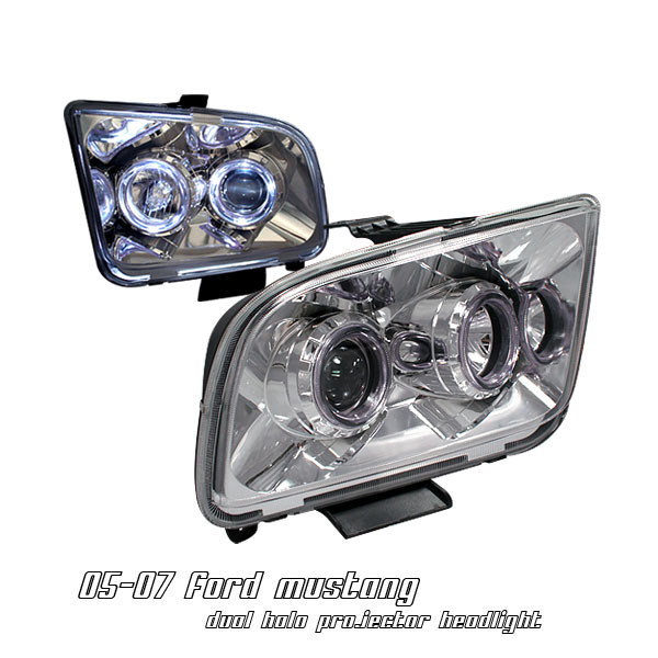 Ford Mustang 2005-2007  Chrome W/ Halo Projector Headlights