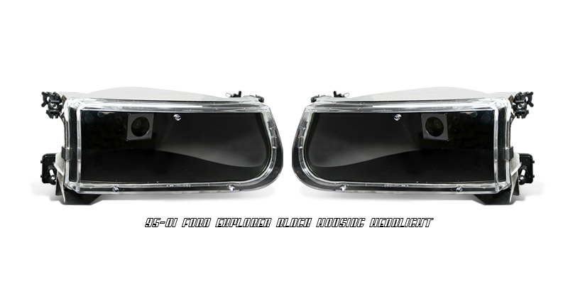 Ford Explorer 1995-2001  Black Euro Crystal Headlights