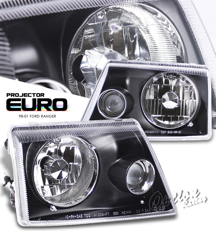 Ford Ranger 1998-2001  Black Projector Headlights