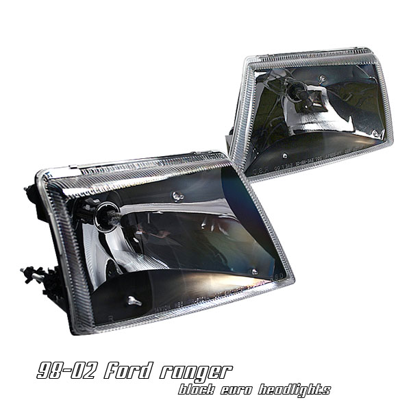 ford ranger 1998 2002 black euro crystal headlights by ks. Black Bedroom Furniture Sets. Home Design Ideas