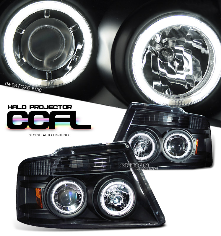 Ford F150 2004-2008  Black W/ccfl Halo Projector Headlights
