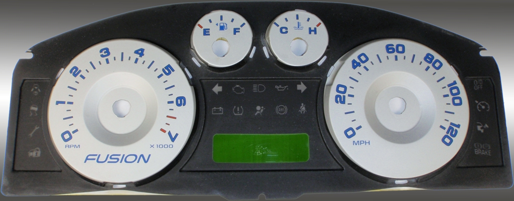 Ford Fusion 2006-2009  Silver / Blue Numbers Performance Dash Gauges