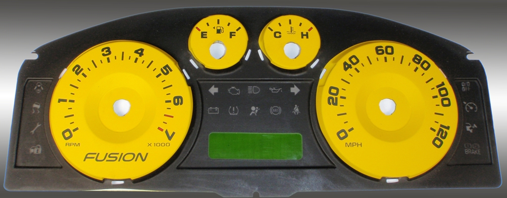 Ford Fusion 2006-2009  Yellow / Green Night Performance Dash Gauges