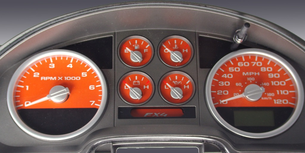 Ford F150 2004-2006 Fx4 Only Orange / Green Night Performance Dash Gauges
