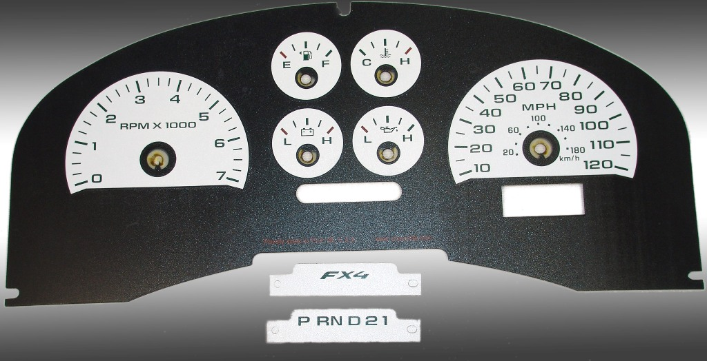 Ford F150 2007-2008 Fx4 And Fx2 White / Green Night Performance Dash Gauges