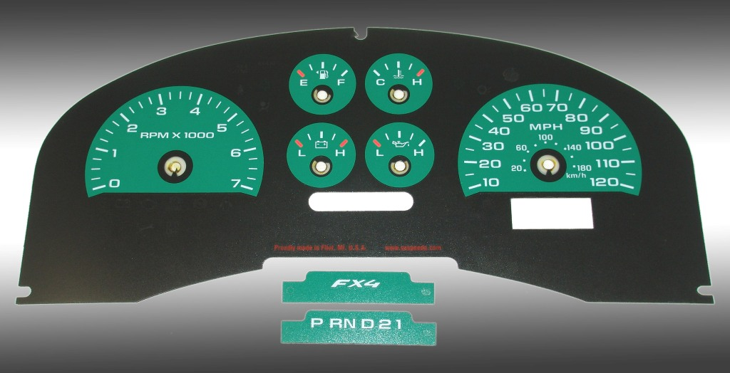Ford F150 2007-2008 Fx4 And Fx2 Green / Green Night Performance Dash Gauges