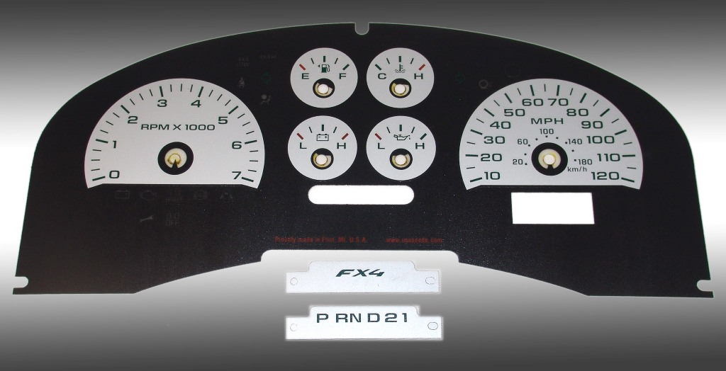 Ford F150 2007-2008 Fx4 And Fx2 Silver / Green Night Performance Dash Gauges