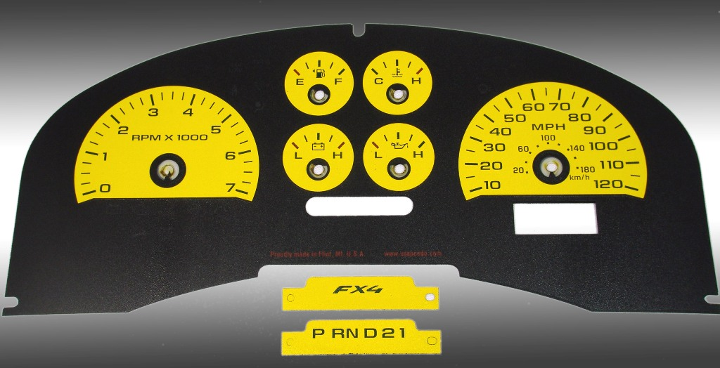 Ford F150 2007-2008 Fx4 And Fx2 Yellow / Green Night Performance Dash Gauges