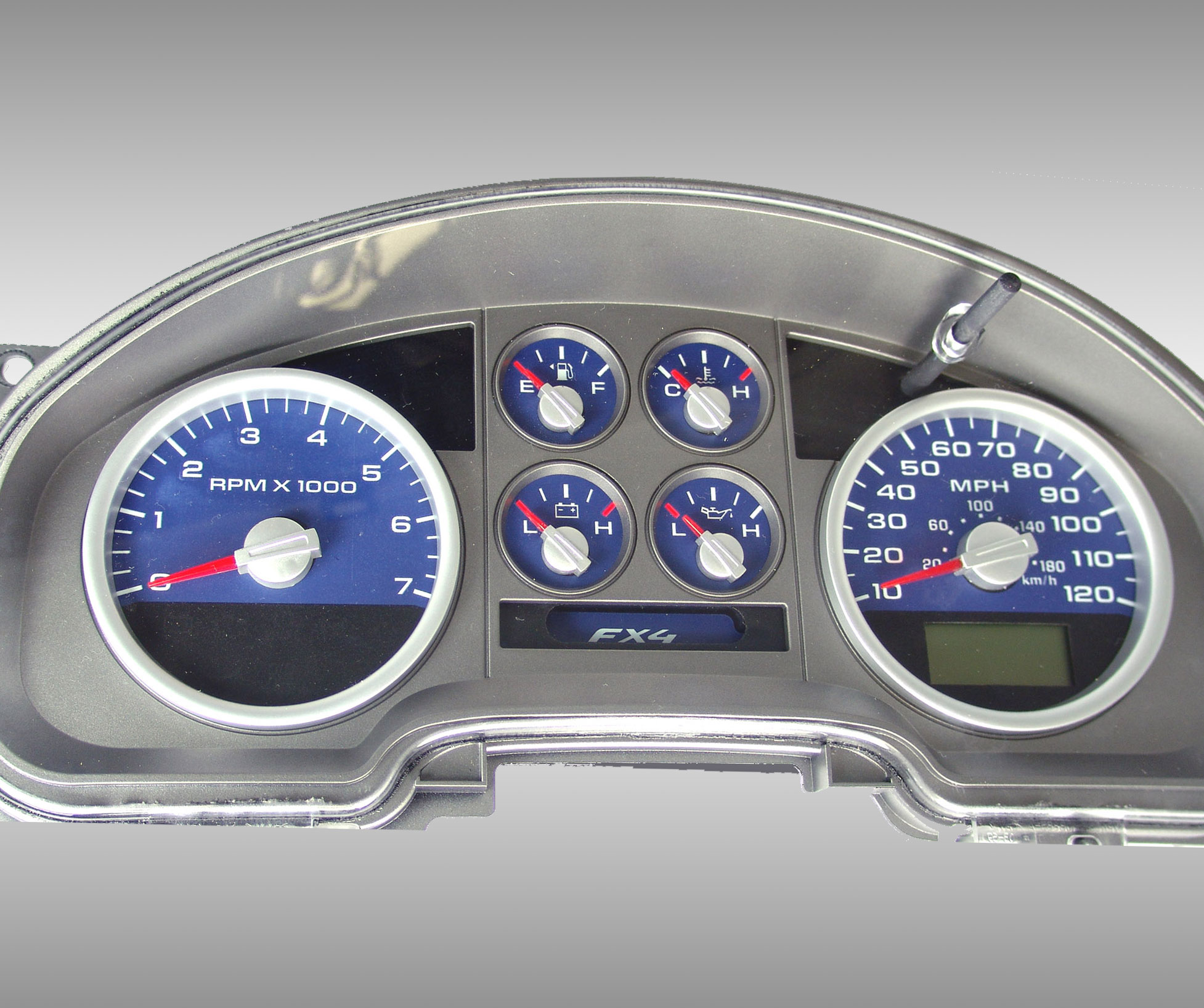 Ford F150 2007-2008 Fx4 And Fx2 Blue / Green Night Performance Dash Gauges