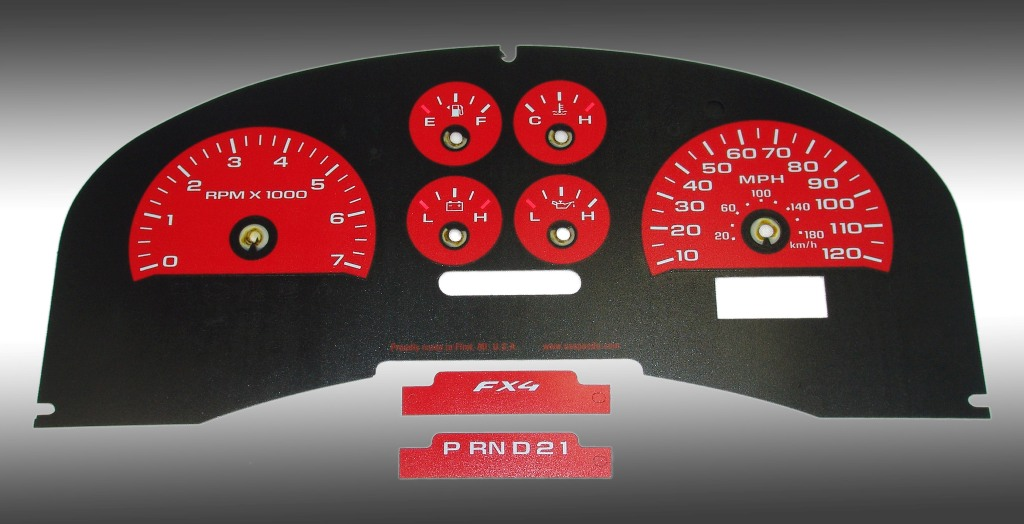 Ford F150 2007-2008 Fx4 And Fx2 Red / Green Night Performance Dash Gauges
