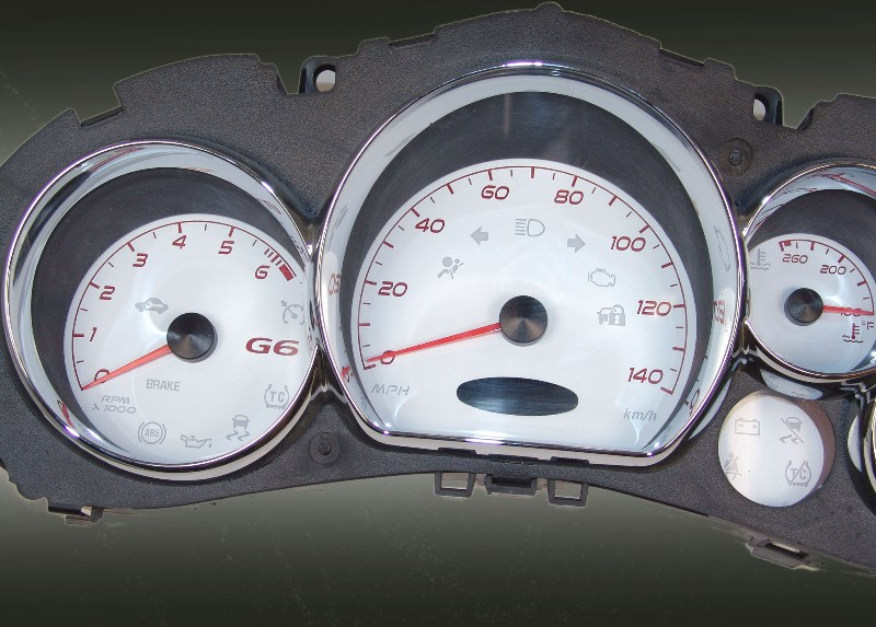 Pontiac G6 2005-2009  White / Red Night Performance Dash Gauges