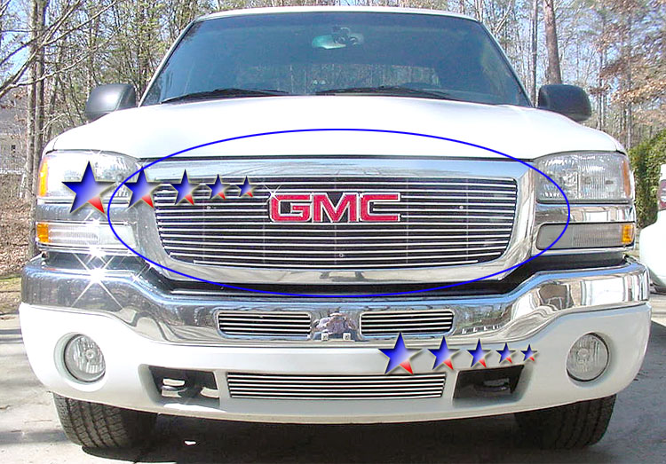 Gmc Sierra 3500 2003-2006 Polished Main Upper Stainless Steel Billet Grille