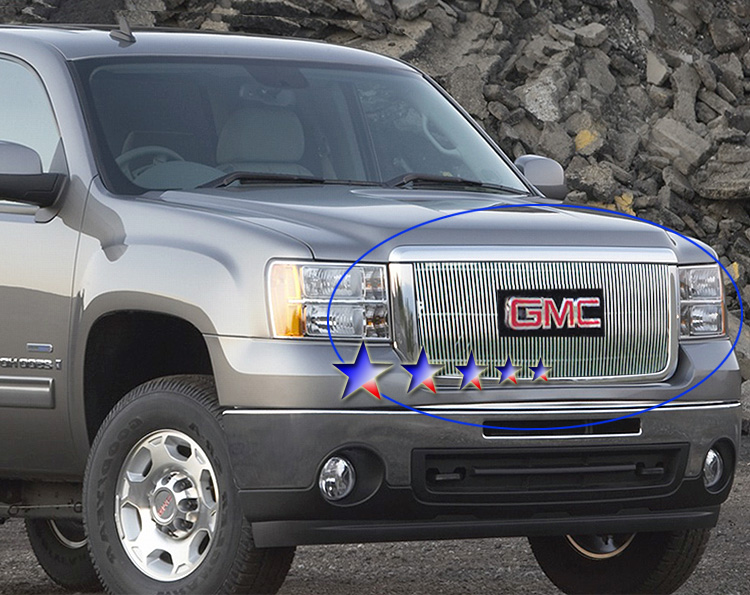 Gmc Sierra 3500 Hd 2007-2010 Polished Main Upper Stainless Steel Billet Grille