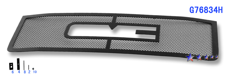 Gmc Sierra 3500 Hd 2011-2012 Black Powder Coated Main Upper Black Wire Mesh Grille