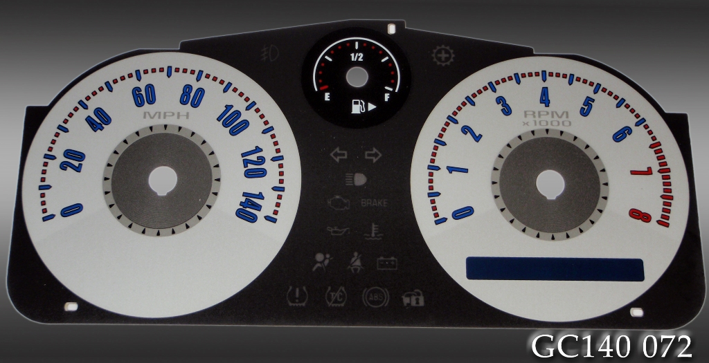 Chevrolet Cobalt 2005-2009  Silver / Blue Night Performance Dash Gauges