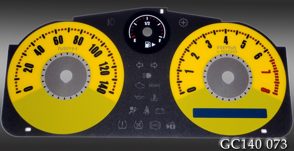 Chevrolet Cobalt 2005-2009  Yellow / Yellow Night Performance Dash Gauges