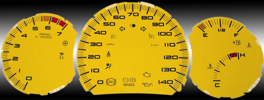 Pontiac Grand Prix 2004-2009 Se, Gt, Gtp Yellow / Red Night Performance Dash Gauges