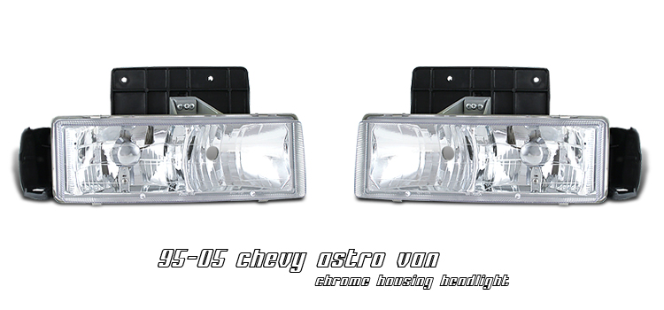 Chevrolet Astro 1995-2005  Chrome Euro Crystal Headlights