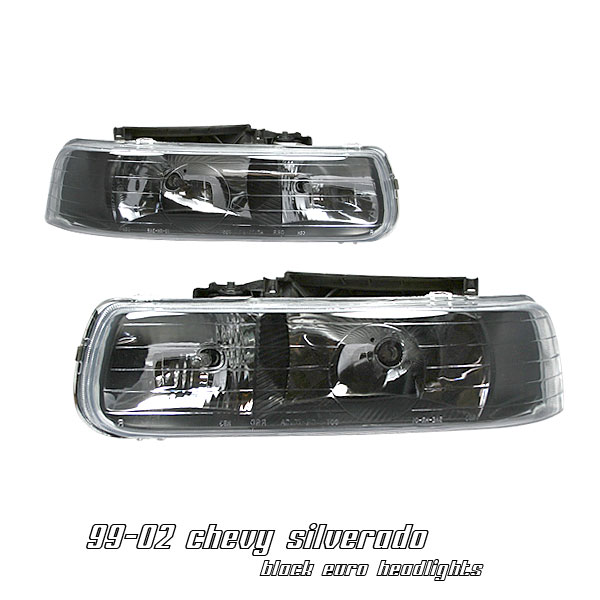 Chevrolet Silverado 1999-2002  Black Euro Crystal Headlights