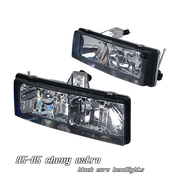 Chevrolet Astro 1995-2005  Black Euro Crystal Headlights