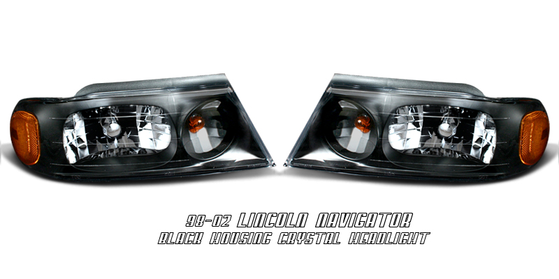 Lincoln Navigator 1998-2002  Black/amber Euro Crystal Headlights