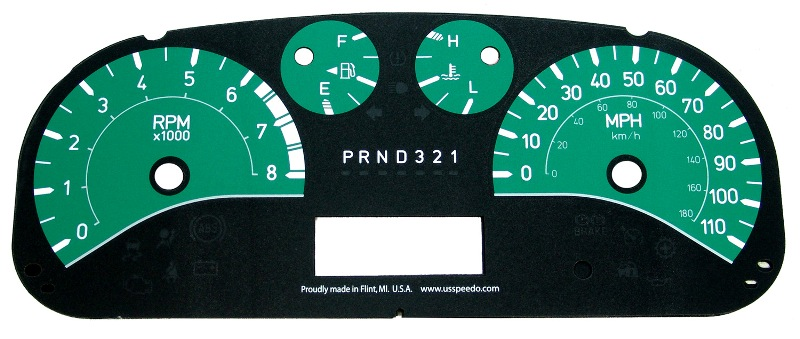 Hummer H3 2006-2009  Green / Green Night Performance Dash Gauges