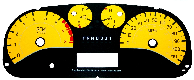 Hummer H3 2006-2009  Yellow / White Night Performance Dash Gauges