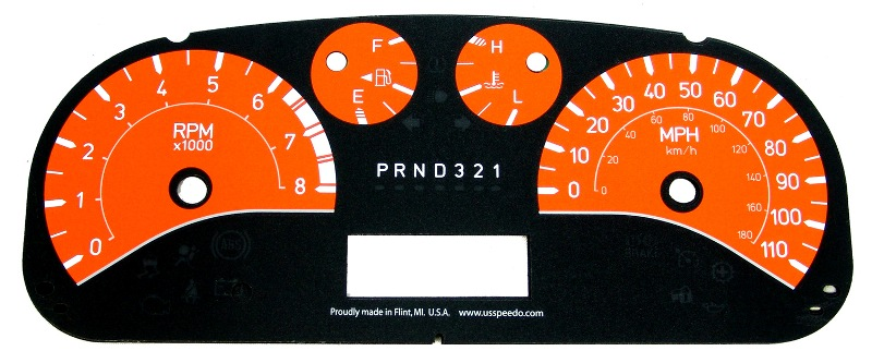 Hummer H3 2006-2009  Orange / White Night Performance Dash Gauges
