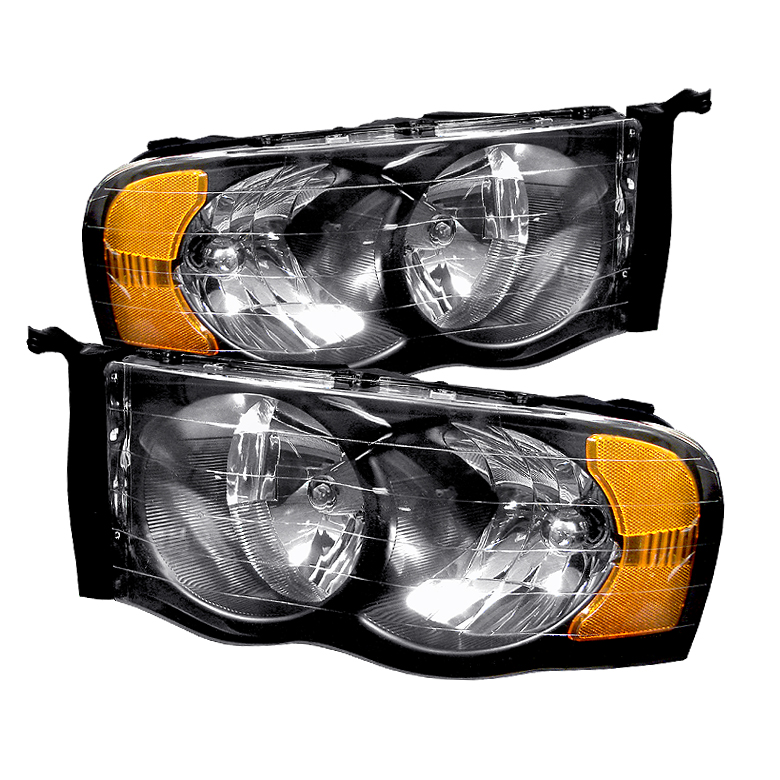 Dodge Ram 2002-2005 Black Euro Crystal Headlights