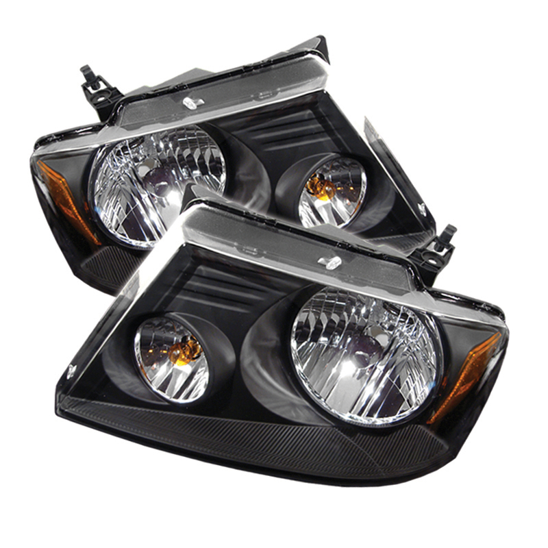 Ford F150 2004-2007 Black Euro Crystal Headlights