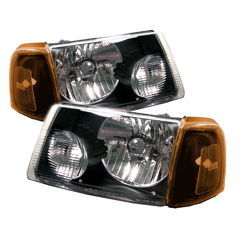 Ford Ranger 2001-2005 Black Euro Crystal Headlights
