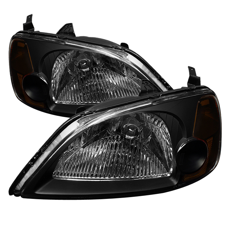 Honda Civic 2001-2003 Black Euro Crystal Headlights