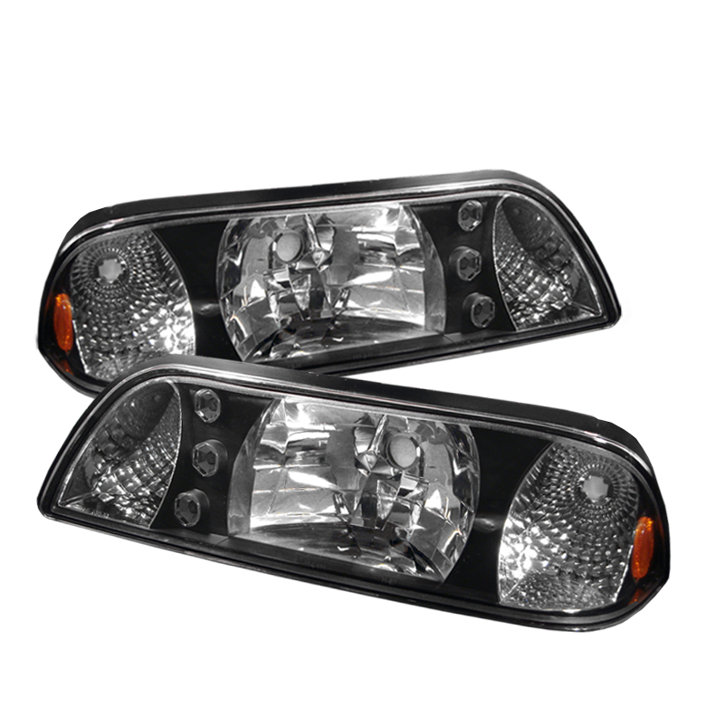 Ford Mustang 1987-1993 Black Euro Crystal Headlights