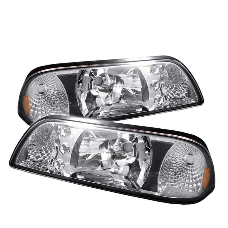 Ford Mustang 1987-1993 Chrome Euro Crystal Headlights
