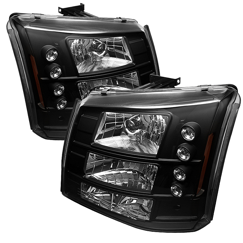 Chevrolet Silverado 2003-2006 Black Halo Euro Crystal Headlights W/ Bumper Lights Combo