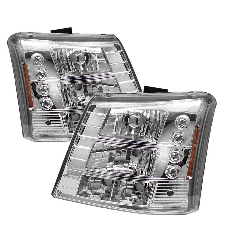 Chevrolet Silverado 2003-2006 Chrome Halo Euro Crystal Headlights W/ Bumper Lights Combo