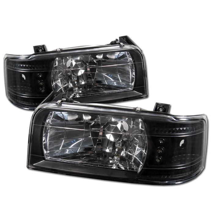 Ford Bronco 1992-1996 Black Euro Crystal Headlights